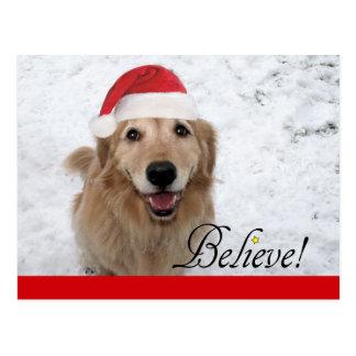 El golden retriever cree navidad postales
