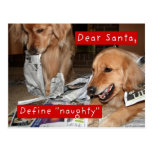 El golden retriever define navidad travieso tarjetas postales