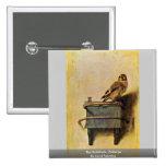 El Goldfinch., Puttertje de Carel Fabritius Pin Cuadrada 5 Cm