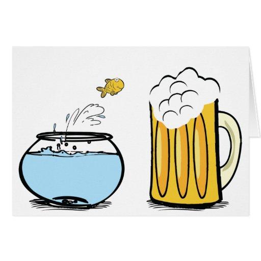el goldfish ama la tarjeta de la cerveza