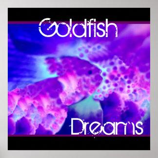 El Goldfish púrpura y azul soña la decoración de l Póster