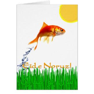 El Goldfish que salta el Año Nuevo Eid e Noruz de Tarjeta De Felicitación