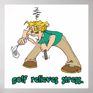 el golf alivia humor de la tensión póster