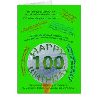 El golf bromea tarjeta de cumpleaños para 100 años