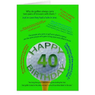 El golf bromea tarjeta de cumpleaños para 40 años