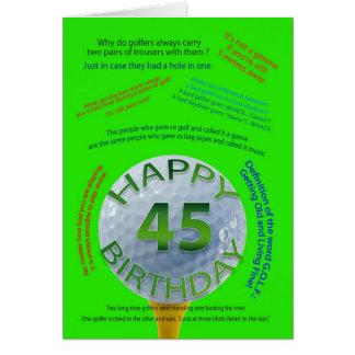 El golf bromea tarjeta de cumpleaños para 45 años