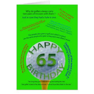 El golf bromea tarjeta de cumpleaños para 65 años