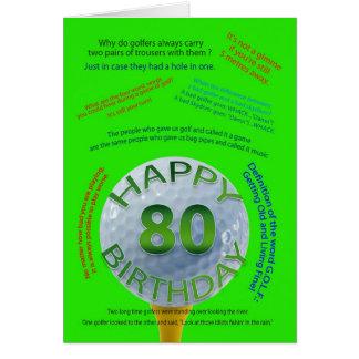El golf bromea tarjeta de cumpleaños para 80 años