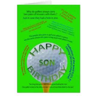 El golf bromea tarjeta de cumpleaños para el hijo