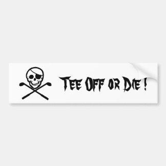 El golf de la bandera de pirata o muere pegatina pegatina para auto