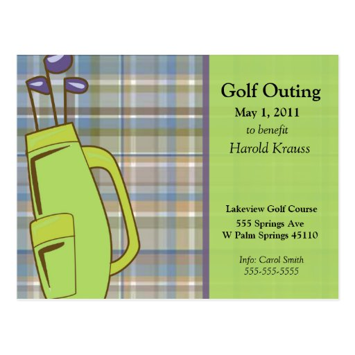 El golf de la tela escocesa invita postal