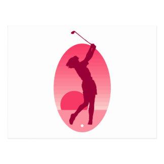 El golf de las mujeres rosadas postal
