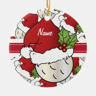 El golf del navidad personaliza el ornamento adorno navideño redondo de cerámica