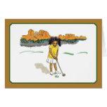 El golf embroma las tarjetas, chica en el sudoeste