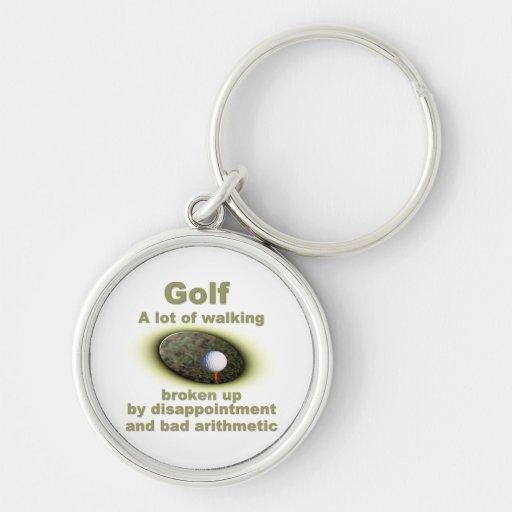 El golf es mucho #2 que camina llavero redondo plateado