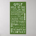 El golf llama el poster de la muestra del subterrá