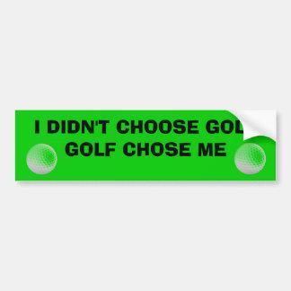 El golf me eligió carro de golf pegatina para auto