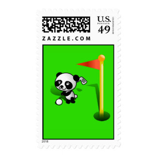 El Golfing del oso de panda del bebé del dibujo Sello