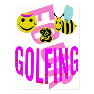 el golfing feliz de 2 abejas postales