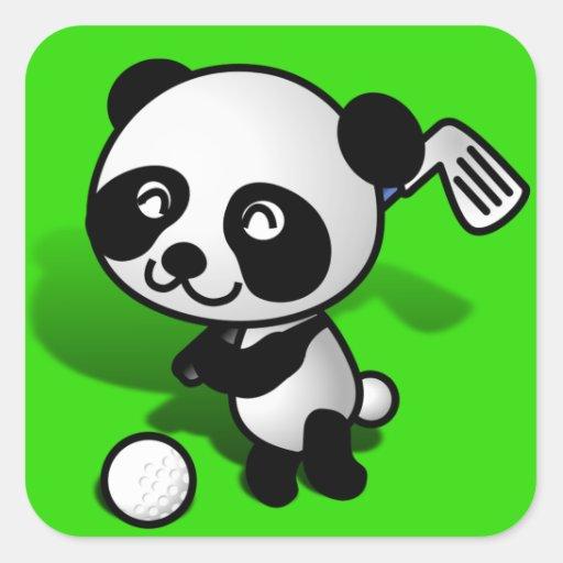 El Golfing lindo del oso de panda del bebé del Pegatina Cuadrada