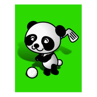 El Golfing lindo del oso de panda del bebé del Tarjeta Postal