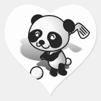 El Golfing lindo del oso de panda del dibujo Pegatina En Forma De Corazón