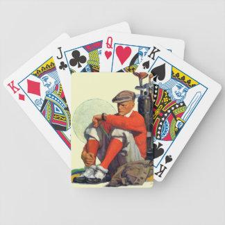 El golfista guardó el esperar baraja cartas de poker
