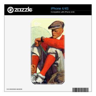 El golfista guardó el esperar calcomanía para el iPhone 4