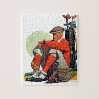 El golfista guardó el esperar puzzle