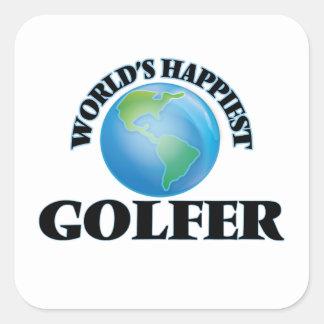 El golfista más feliz del mundo pegatina cuadrada