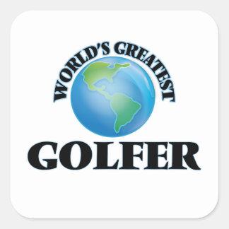 El golfista más grande del mundo pegatina cuadrada