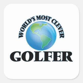 El golfista más listo del mundo pegatina cuadrada