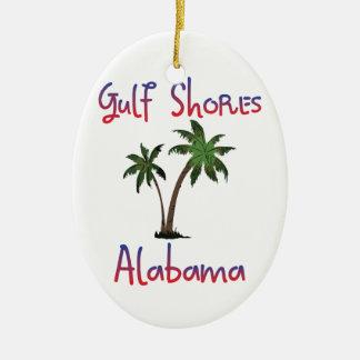 El golfo apuntala Alabama Adorno Navideño Ovalado De Cerámica