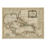 El Golfo de México, islas del Caribe Poster