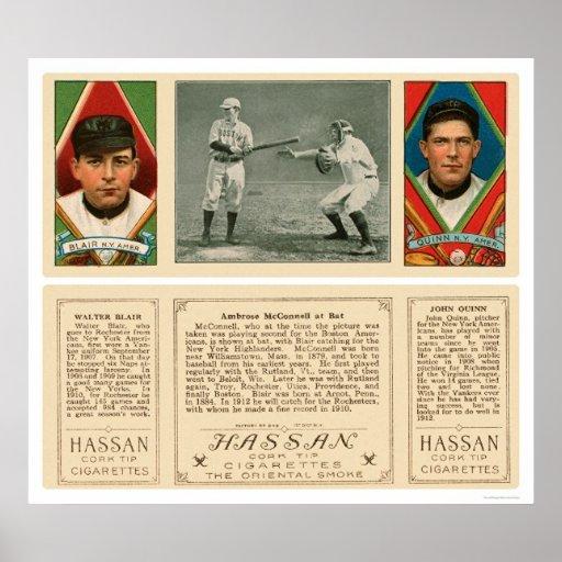 El golpear contra el béisbol 1912 de los yanquis posters