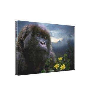 El gorila de montaña en peligro nombró arte de la  impresiones en lona