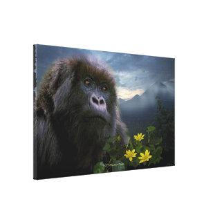 El gorila de montaña en peligro nombró arte de la  impresiones de lienzo