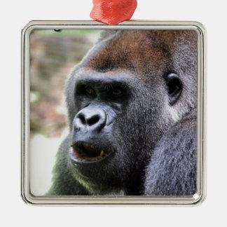 El gorila dice adorno navideño cuadrado de metal