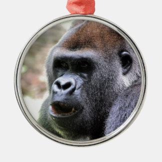 El gorila dice adorno navideño redondo de metal