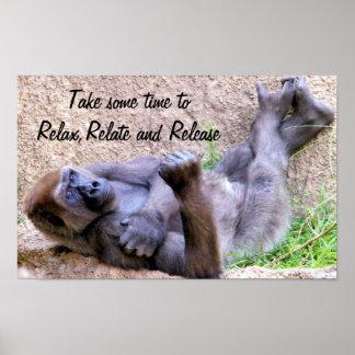 El gorila, se relaja, se relaciona, release_ impresiones
