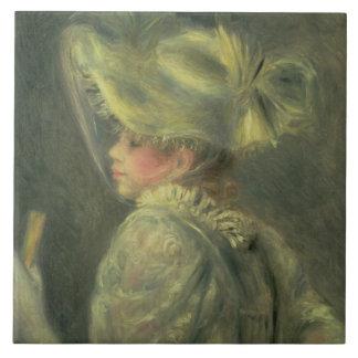 El gorra blanco (aceite en lona) azulejo cuadrado grande