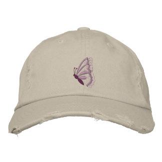 El gorra de las mujeres bordadas mariposa púrpura gorros bordados