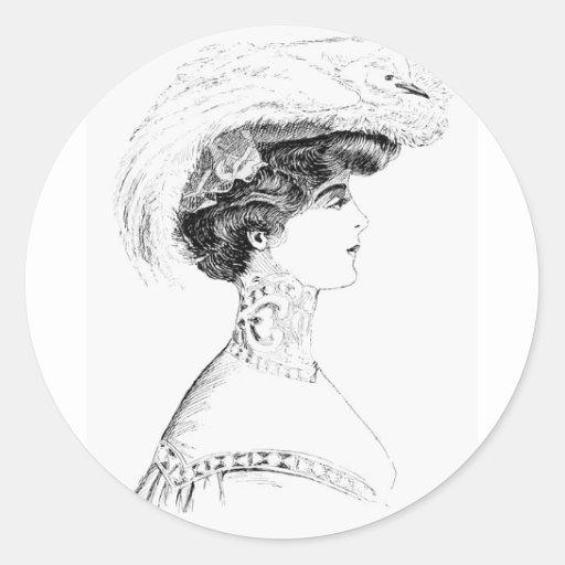 El gorra de las señoras etiquetas redondas