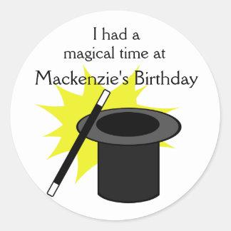 El gorra del mago de la magia yo pegatina redonda