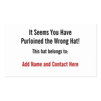 El gorra incorrecto plantillas de tarjetas de visita