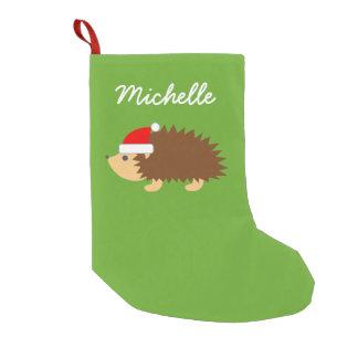 El gorra lindo personalizado de santa del erizo calcetín navideño pequeño