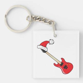 El gorra rojo lindo de Santa de la guitarra asalta Llavero Cuadrado Acrílico A Doble Cara
