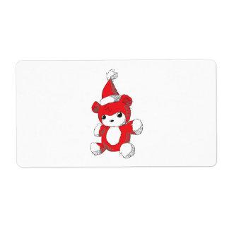 El gorra rojo lindo de Santa del oso de peluche Etiqueta De Envío