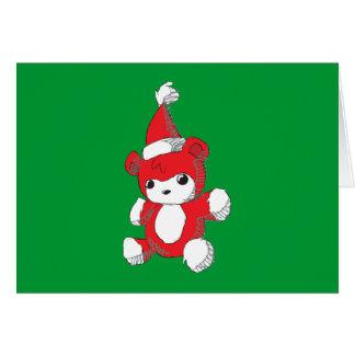 El gorra rojo lindo de Santa del oso de peluche Tarjetas