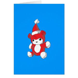 El gorra rojo lindo de Santa del oso de peluche Felicitación